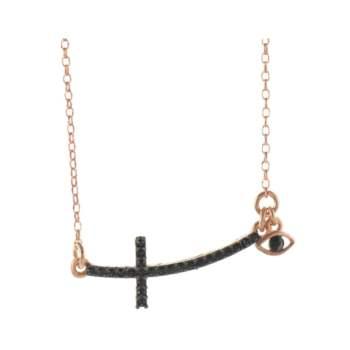 Κολιέ σταυρός με ματάκι με πέτρες swarovski από ρόζ επιχρυσωμένο ασήμι