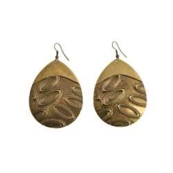 Boho σκουλαρίκια χρυσά ανάγλυφα