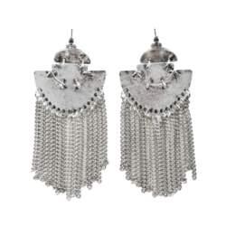 Boho σκουλαρίκια με ασημί αλυσίδες