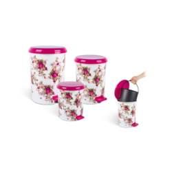 Σετ Κάδοι Απορριμμάτων 3 τεμ με πεντάλ και αφαιρούμενο δοχείο σε floralσχέδιο με φούξια καπάκι - Schafer