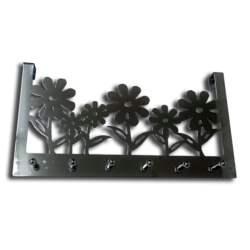Κρεμάστρα πόρτας αλουμινίου με Λουλούδια 298mm με 6 γάντζους σε Νίκελ χρώμα, L.Dake en Zn 01.20.290 - L.Dake en Zn.