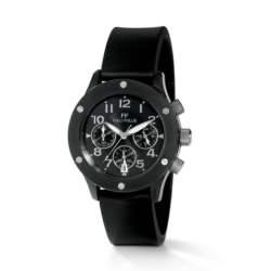 FOLLI FOLLIE - Γυναικείο ρολόι χρονογράφος Folli Follie με καουτσούκ λουράκι μαύρο