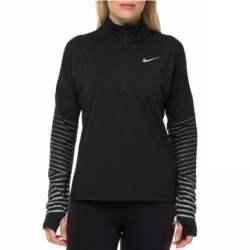 NIKE - Γυναικεία αθλητική μακρυμάνικη μπλούζα NIKE DRY FLSH ELMNT TOP HZ μαύρη