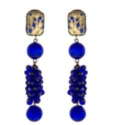 ARTWEAR DIMITRIADIS - Γυναικεία κρεμαστά σκουλαρίκια ARTWEAR DIMITRIADIS με μπλε στρας & πέτρα