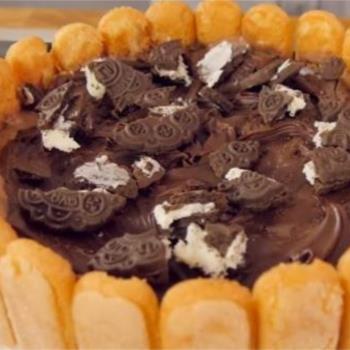 Τούρτα παγωτό με σοκολάτα και σαβαγιάρ