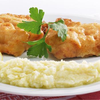 Μπακαλιάρος τηγανιτός & σκορδαλιά με πατάτα και καρυδόψιχα