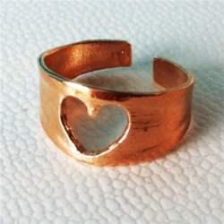 Χειροποίητο ορειχάλκινο σεβαλιέ δαχτυλίδι καρδιά
