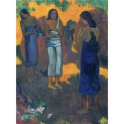 Παζλ - Three Tahitian Women Against a Yellow Background | Paul Gauguin