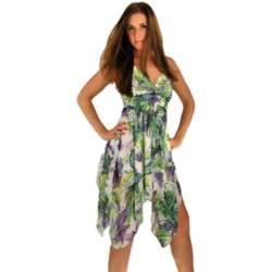 Ασύμμετρο φόρεμα με τιράντες πράσινο-βιολετί - 261289gr-vl