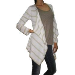 Agel Knitwear πλεκτή ριγέ ασύμμετρη ζακέτα λευκή - s15403-wh