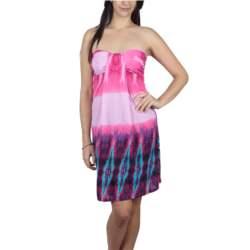 Στράπλες φόρεμα ροζ-μωβ - 19050-pi