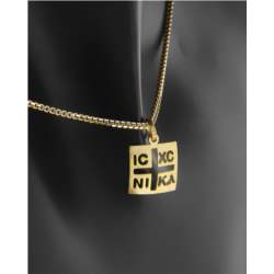 Κωνσταντινάτο τετράγωνο χρυσό Κ9 με μοτίφ σταυρό